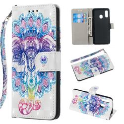 Colorful Elephant 3D Painted Leather Wallet Phone Case for Samsung Galaxy A20e