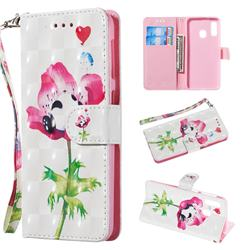 Flower Panda 3D Painted Leather Wallet Phone Case for Samsung Galaxy A20e