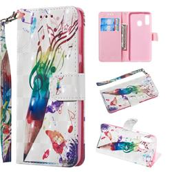 Music Pen 3D Painted Leather Wallet Phone Case for Samsung Galaxy A20e