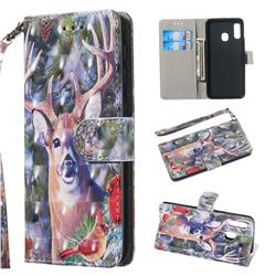 Elk Deer 3D Painted Leather Wallet Phone Case for Samsung Galaxy A20e