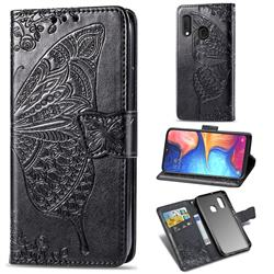 Embossing Mandala Flower Butterfly Leather Wallet Case for Samsung Galaxy A20e - Black