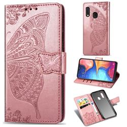 Embossing Mandala Flower Butterfly Leather Wallet Case for Samsung Galaxy A20e - Rose Gold