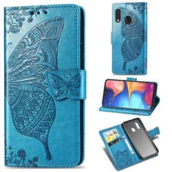 Embossing Mandala Flower Butterfly Leather Wallet Case for Samsung Galaxy A20e - Blue