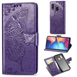 Embossing Mandala Flower Butterfly Leather Wallet Case for Samsung Galaxy A20e - Dark Purple