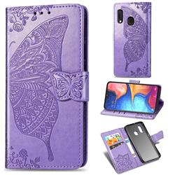 Embossing Mandala Flower Butterfly Leather Wallet Case for Samsung Galaxy A20e - Light Purple