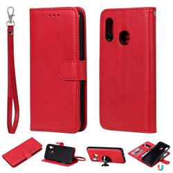 Retro Greek Detachable Magnetic PU Leather Wallet Phone Case for Samsung Galaxy A20e - Red