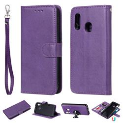 Retro Greek Detachable Magnetic PU Leather Wallet Phone Case for Samsung Galaxy A20e - Purple
