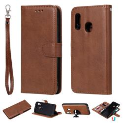 Retro Greek Detachable Magnetic PU Leather Wallet Phone Case for Samsung Galaxy A20e - Brown
