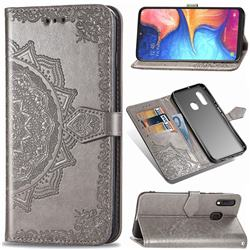Embossing Imprint Mandala Flower Leather Wallet Case for Samsung Galaxy A20e - Gray