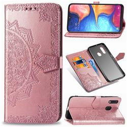 Embossing Imprint Mandala Flower Leather Wallet Case for Samsung Galaxy A20e - Rose Gold