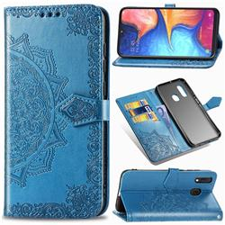 Embossing Imprint Mandala Flower Leather Wallet Case for Samsung Galaxy A20e - Blue