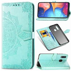 Embossing Imprint Mandala Flower Leather Wallet Case for Samsung Galaxy A20e - Green