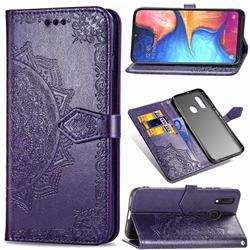 Embossing Imprint Mandala Flower Leather Wallet Case for Samsung Galaxy A20e - Purple