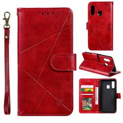 Embossing Geometric Leather Wallet Case for Samsung Galaxy A20e - Red