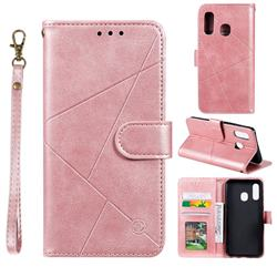 Embossing Geometric Leather Wallet Case for Samsung Galaxy A20e - Rose Gold