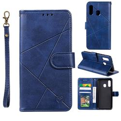 Embossing Geometric Leather Wallet Case for Samsung Galaxy A20e - Blue