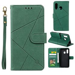 Embossing Geometric Leather Wallet Case for Samsung Galaxy A20e - Green