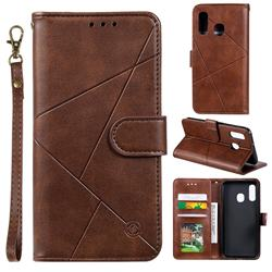 Embossing Geometric Leather Wallet Case for Samsung Galaxy A20e - Brown