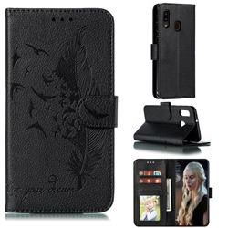 Intricate Embossing Lychee Feather Bird Leather Wallet Case for Samsung Galaxy A20e - Black