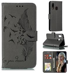 Intricate Embossing Lychee Feather Bird Leather Wallet Case for Samsung Galaxy A20e - Gray