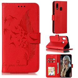 Intricate Embossing Lychee Feather Bird Leather Wallet Case for Samsung Galaxy A20e - Red