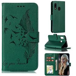 Intricate Embossing Lychee Feather Bird Leather Wallet Case for Samsung Galaxy A20e - Green