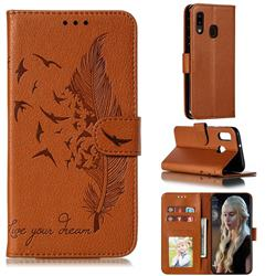 Intricate Embossing Lychee Feather Bird Leather Wallet Case for Samsung Galaxy A20e - Brown