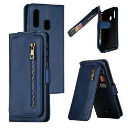 Multifunction 9 Cards Leather Zipper Wallet Phone Case for Samsung Galaxy A20e - Blue