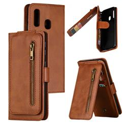 Multifunction 9 Cards Leather Zipper Wallet Phone Case for Samsung Galaxy A20e - Brown