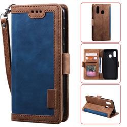 Luxury Retro Stitching Leather Wallet Phone Case for Samsung Galaxy A20e - Dark Blue