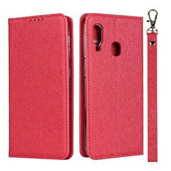 Ultra Slim Magnetic Automatic Suction Silk Lanyard Leather Flip Cover for Samsung Galaxy A20e - Red