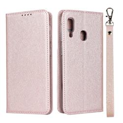 Ultra Slim Magnetic Automatic Suction Silk Lanyard Leather Flip Cover for Samsung Galaxy A20e - Rose Gold