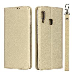 Ultra Slim Magnetic Automatic Suction Silk Lanyard Leather Flip Cover for Samsung Galaxy A20e - Golden