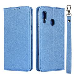Ultra Slim Magnetic Automatic Suction Silk Lanyard Leather Flip Cover for Samsung Galaxy A20e - Sky Blue