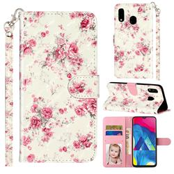 Rambler Rose Flower 3D Leather Phone Holster Wallet Case for Samsung Galaxy A20e