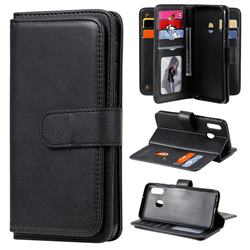 Multi-function Ten Card Slots and Photo Frame PU Leather Wallet Phone Case Cover for Samsung Galaxy A20e - Black