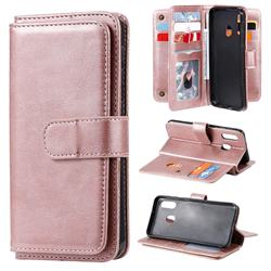 Multi-function Ten Card Slots and Photo Frame PU Leather Wallet Phone Case Cover for Samsung Galaxy A20e - Rose Gold