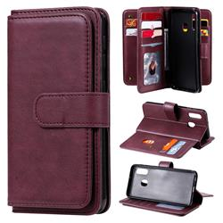 Multi-function Ten Card Slots and Photo Frame PU Leather Wallet Phone Case Cover for Samsung Galaxy A20e - Claret