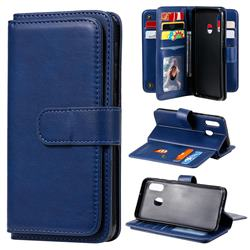 Multi-function Ten Card Slots and Photo Frame PU Leather Wallet Phone Case Cover for Samsung Galaxy A20e - Dark Blue