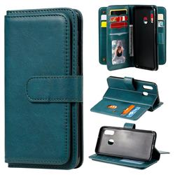 Multi-function Ten Card Slots and Photo Frame PU Leather Wallet Phone Case Cover for Samsung Galaxy A20e - Dark Green