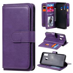 Multi-function Ten Card Slots and Photo Frame PU Leather Wallet Phone Case Cover for Samsung Galaxy A20e - Violet