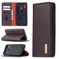 Binfen Color BF06 Luxury Classic Genuine Leather Detachable Magnet Holster Cover for Samsung Galaxy A20e - Dark Brown