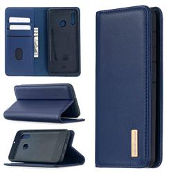 Binfen Color BF06 Luxury Classic Genuine Leather Detachable Magnet Holster Cover for Samsung Galaxy A20e - Blue