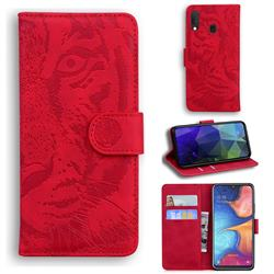 Intricate Embossing Tiger Face Leather Wallet Case for Samsung Galaxy A20e - Red