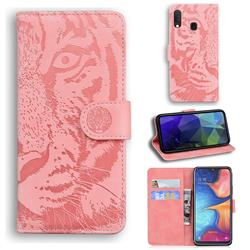 Intricate Embossing Tiger Face Leather Wallet Case for Samsung Galaxy A20e - Pink