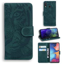Intricate Embossing Tiger Face Leather Wallet Case for Samsung Galaxy A20e - Green