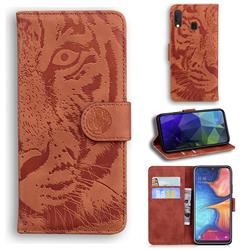 Intricate Embossing Tiger Face Leather Wallet Case for Samsung Galaxy A20e - Brown