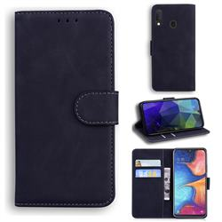 Retro Classic Skin Feel Leather Wallet Phone Case for Samsung Galaxy A20e - Black