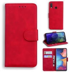 Retro Classic Skin Feel Leather Wallet Phone Case for Samsung Galaxy A20e - Red