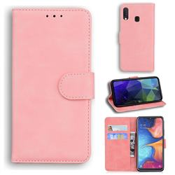 Retro Classic Skin Feel Leather Wallet Phone Case for Samsung Galaxy A20e - Pink